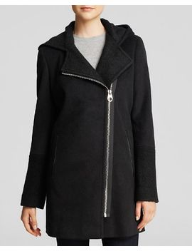 hooded-wool-coat-with-boucle-trim by calvin-klein