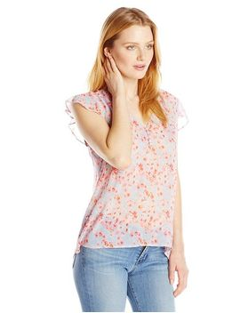 joie-womens-macy-b-silk-watercolor-poppy-ruffled-top by joie