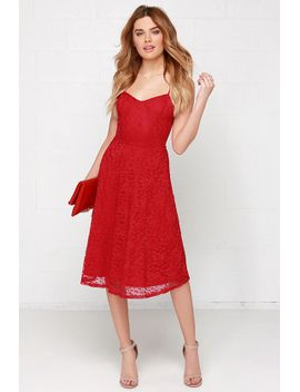 time-of-my-life-red-lace-midi-dress by lulus