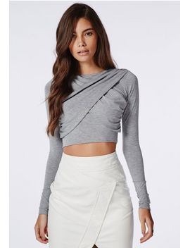 wrap-over-long-sleeve-jersey-crop-top-grey by missguided