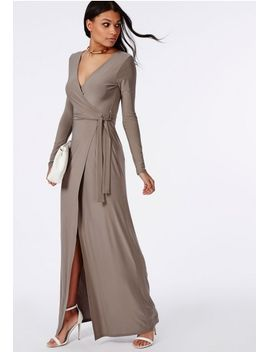 slinky-wrap-front-maxi-dress-taupe by missguided