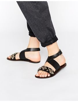 asos-freed-cross-strap-embellished-leather-sandals by asos-collection