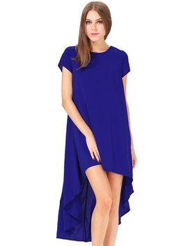 blue-short-sleeve-split-high-low-dress by sheinside