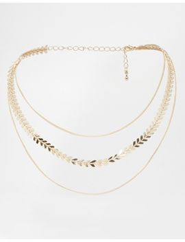 asos-multirow-leaf-choker-necklace by asos-collection