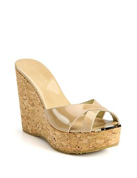 perfume-120-patent-leather-and-cork-wedge-sandals by jimmy-choo