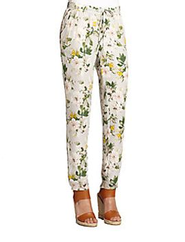 theron-printed-silk-track-pants by joie