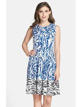 border-print-twill-fit-&-flare-dress by ellen-tracy