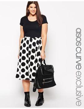asos-curve-full-midi-skirt-in-polka-dot by asos-curve