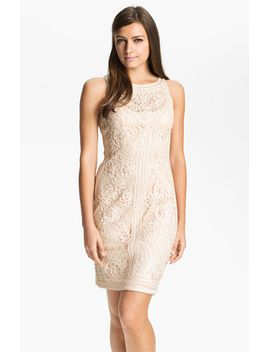 illusion-bodice-lace-sheath-dress by sue-wong