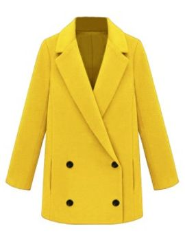 yellow-double-breasted-woolen-coat-with-notched-collar by choies