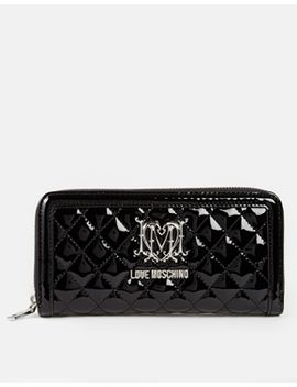 love-moschino-quilted-patent-purse-in-black by love-moschino