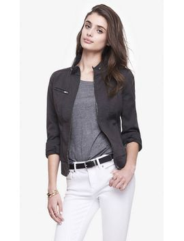 seamed-twill-cuffed-sleeve-moto-jacket by express
