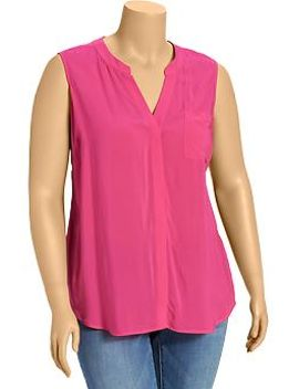 womens-plus-matte-crepe-sleeveless-shirts by old-navy