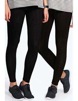 becki-two-pack-basic-jersey-viscose-leggings by boohoo