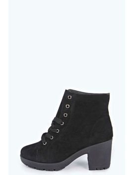 lucy-lace-up-suedette-block-heel-boot by boohoo