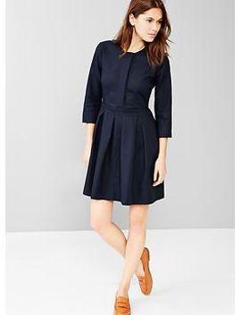 three-quarter-sleeve-pleated-dress by gap