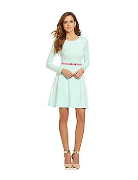 gianni-bini-octavia-belted-fit-and-flare-dress by generic