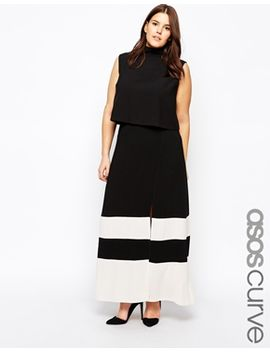 asos-curve-exclusive-maxi-skirt-with-split-front-in-color-block by asos-curve