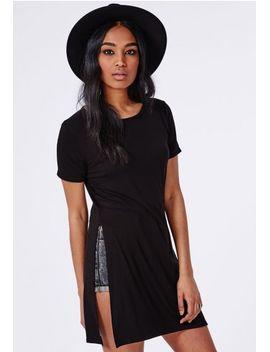 split-side-t-shirt-black by missguided