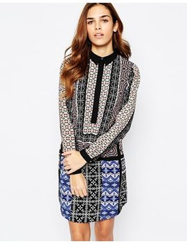 warehouse-geo-tribal-printed-shirt-dress by warehouse