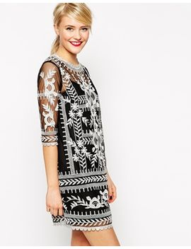asos-premium-shift-dress-with-contrast-embroidery by asos-collection