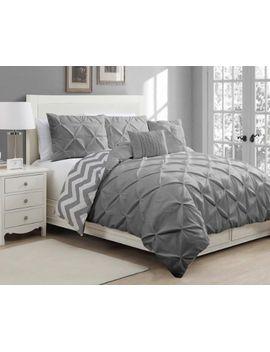 avondale-manor-5-piece-ella-pinch-pleat-duvet-set,-queen,-grey by geneva-home-fashion