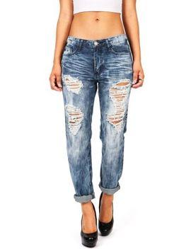 machine-jeans-new-women-ripped-distressed-ex-boyfriend-baggy-acid-wash-low-rise by machine