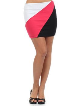 womens-new-banded-colorblock-black-white-red-fashion-sexy-mini-skirt-s~m~l by ebay-seller