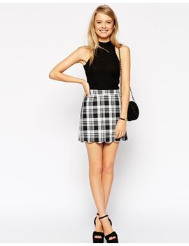 asos-check-scallop-hem-mini-skirt by asos-collection