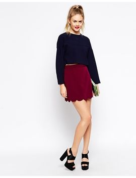 asos-a-line-mini-skirt-with-scallop-hem by asos-collection