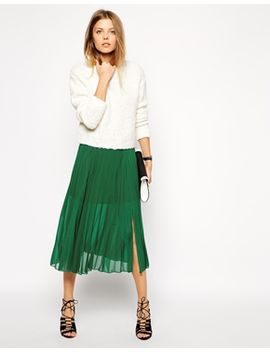 asos-pleated-midi-skirt-with-splits by asos-collection