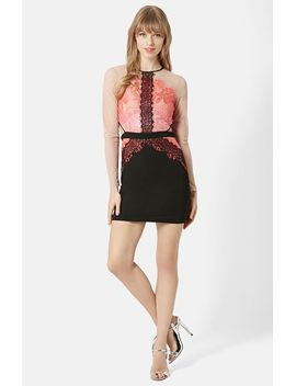lace-overlay-body-con-dress by topshop