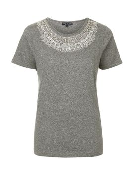 tall-embellished-neck-t-shirt by topshop