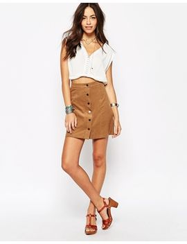 new-look-button-through-cord-skirt by new-look