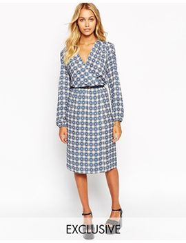 love-wrap-front-midi-dress-in-tile-print by love