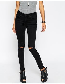 asos-lisbon-skinny-mid-rise-jeans-in-washed-black-with-two-displaced-ripped-knees by asos-collection