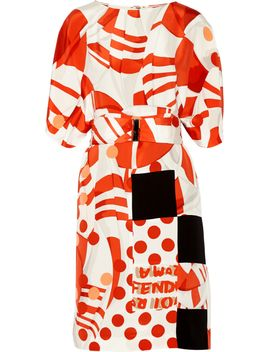 printed-silk-crepe-dress by fendi