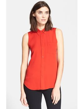 yarnie-sleeveless-silk-georgette-shirt by theory