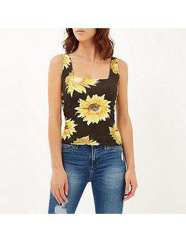 black-sunflower-print-square-neck-top by river-island