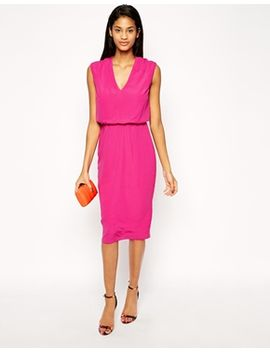 asos-pencil-dress-with-v-neck by asos-collection