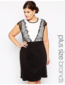 praslin-sleeveless-body-conscious-dress-with-lace-overlay by plus-size-dress