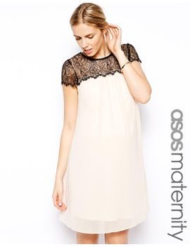 asos-maternity-swing-dress-with-lace-detail by asos-maternity
