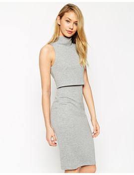 asos-pencil-dress-with-shell-top-in-rib by asos-collection