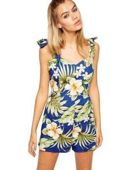 blue-floral-print-romper by oasap