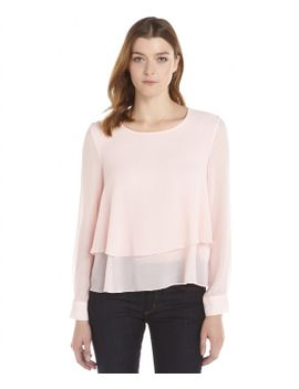 cameo-pink-crepe-woven-long-sleeve-tiered-blouse by tracy