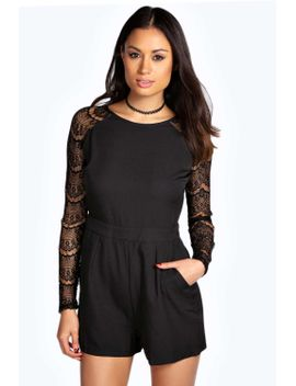 betty-long-sleeve-lace-playsuit by boohoo