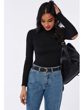 high-neck-cut-out-elbow-top-black by missguided