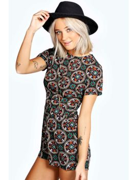 alicia-crepe-floral-cap-sleeve-playsuit by boohoo