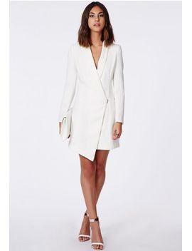 crepe-sleeveless-blazer-dress-white by missguided