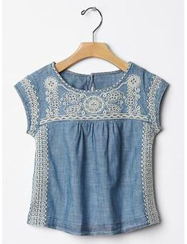 floral-embroidered-chambray-top by gap
